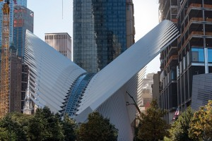 TRANSPORTATION HUB, NEW YORK CITY, NEW YORK, UNITED STATES - 2015/10/17: The World Trade Center Transportation Hub by Spanish architect Santiago Calatrava in New York city. (Photo by Roberto Machado Noa/LightRocket via Getty Images)